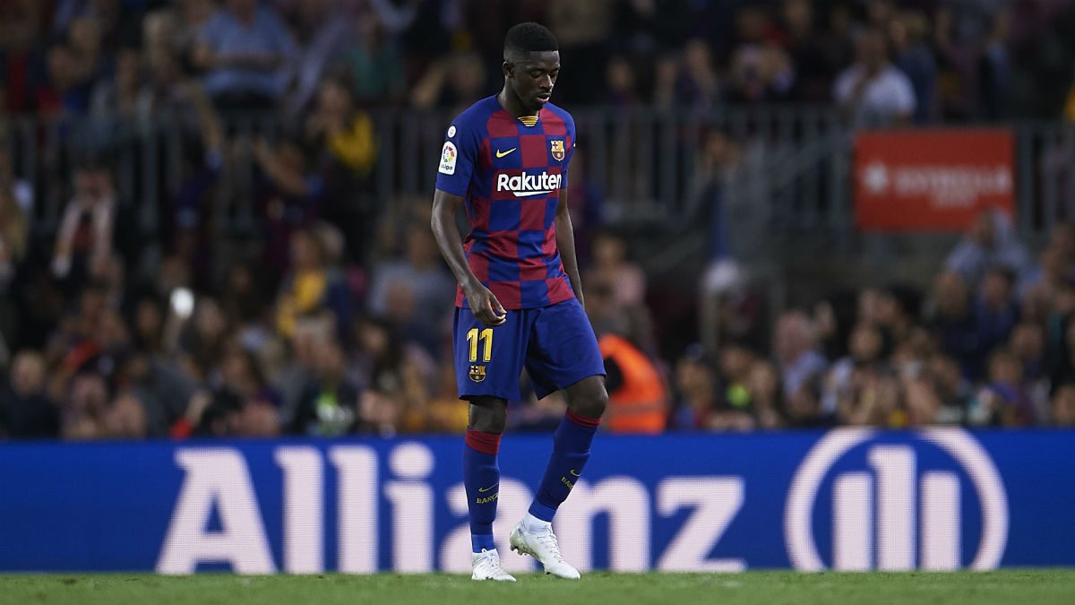 Ousmane Dembélé fue expulsado por decirle a Mateu Lahoz «eres muy malo» (Getty).