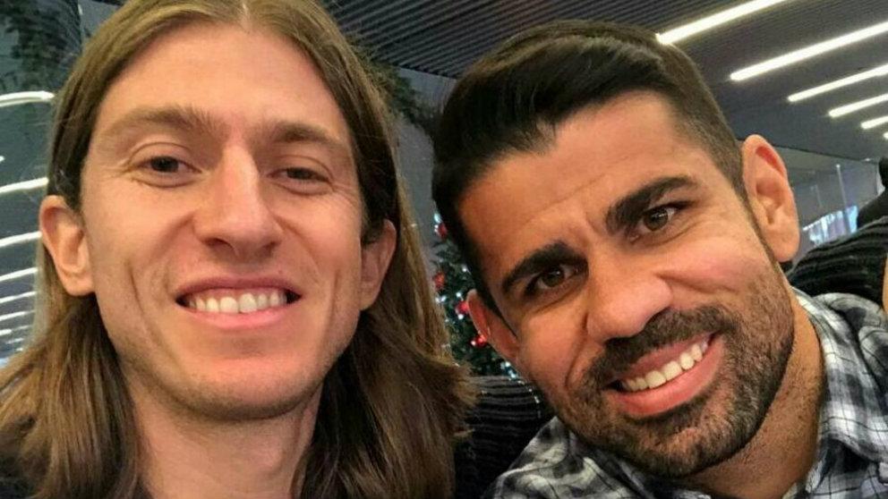 Filipe Luís y Diego Costa (INstagram)