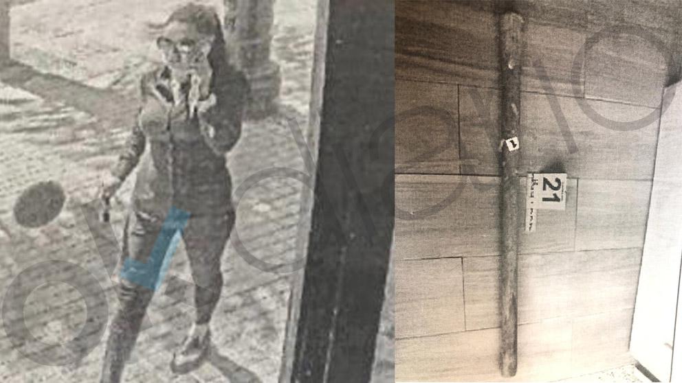 Dana Leonte y el arma utilizado en el crimen.