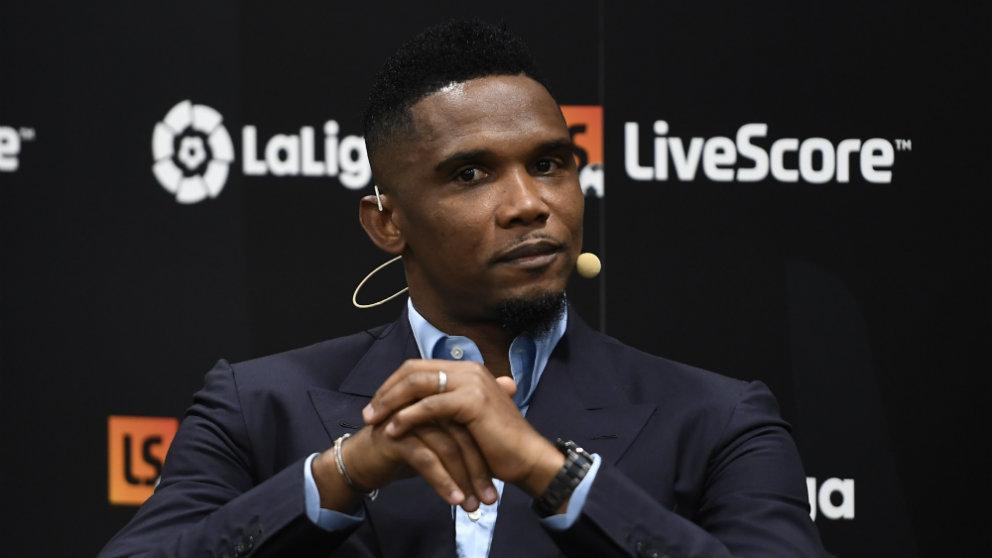 Samuel Eto'o durante un acto de LaLiga (AFP)