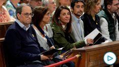 Imagen de TVE del acto celebrado en la abadía de Montserrat por los golpistas presos.