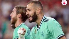 Benzema, durante un partido del Madrid. (AFP)