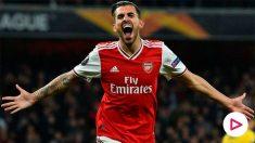 Ceballos celebra un gol con el Arsenal. (AFP)