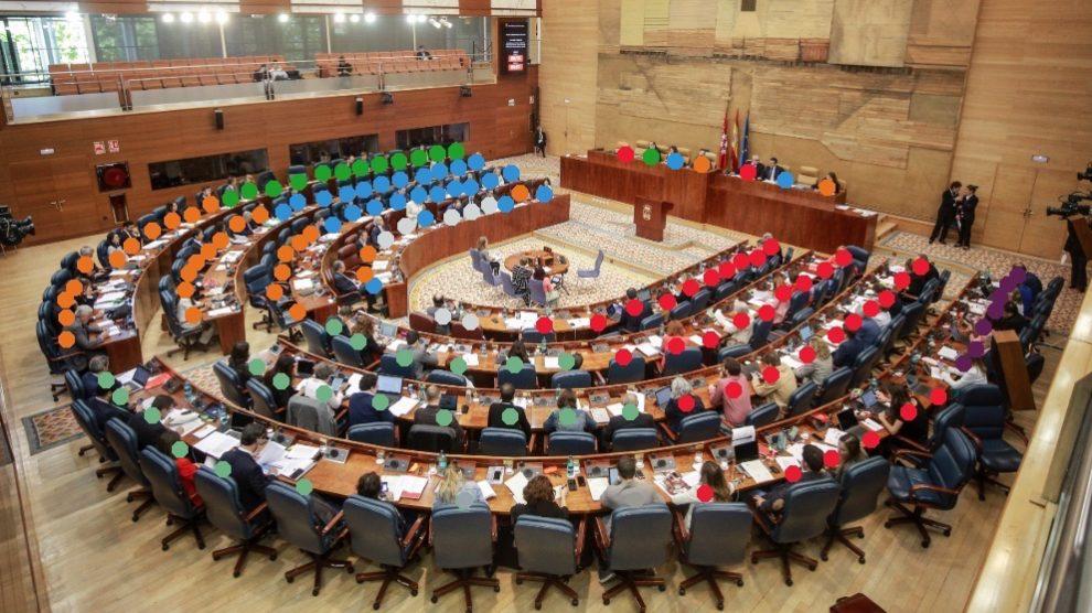Distribución definitiva de la Asamblea de Madrid en la nueva legislatura. (Diseño. OKDIARIO)