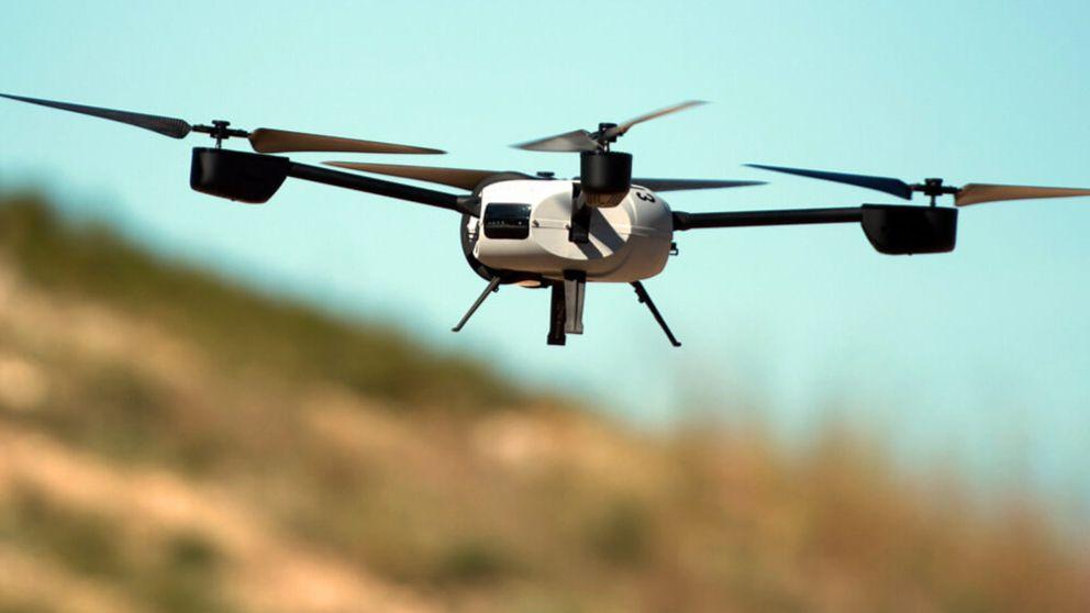 Un dron sobrevolando Madrid.