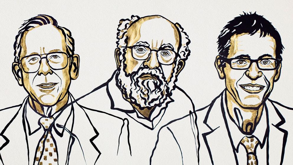 James Peebles, Michel Mayor y Didier Queloz, ganadores del Nobel de Física 2019 en la clásica ilustración que acompaña al anuncio del fallo del jurado.