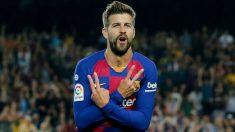 Pique celebra un gol con el Barcelona. (AFP)