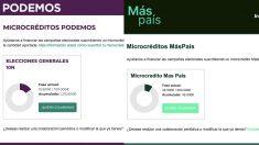 Comparativa del estado actual de los microcréditos de Podemos y de los de Más País a las 24 horas de colecta.