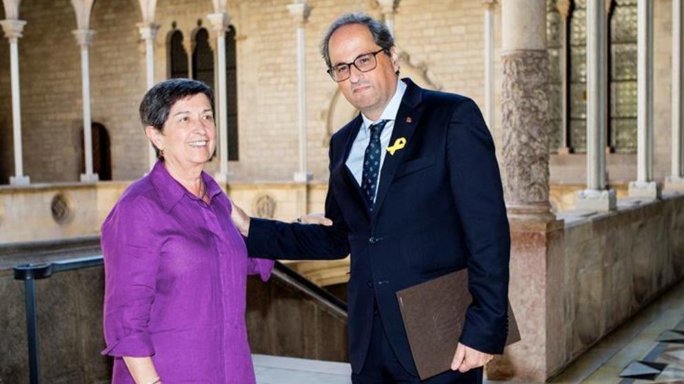 Teresa Cunillera, delegada del Gobierno en Cataluña, con el presidente Quim Torra