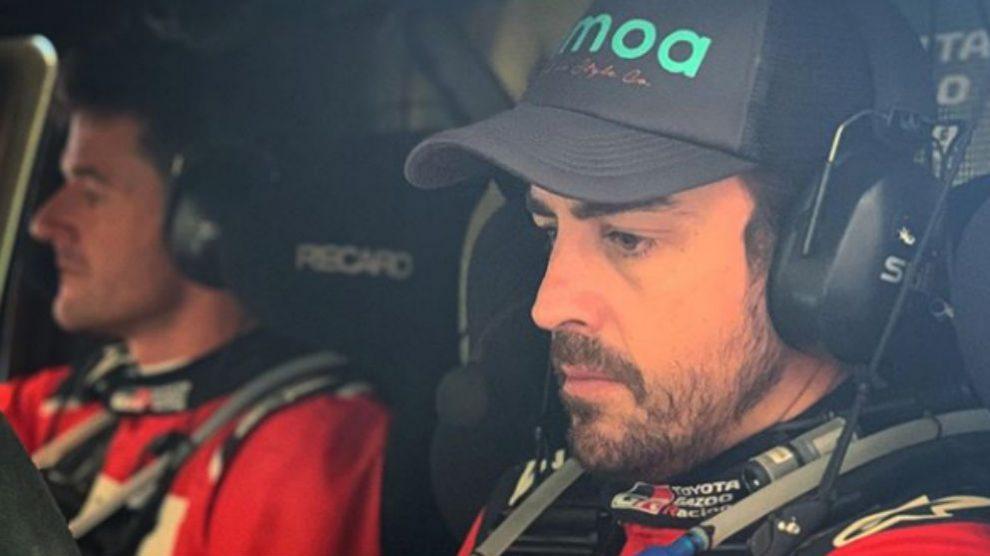 Fernando Alonso, durante una etapa del Rally de Marruecos.
