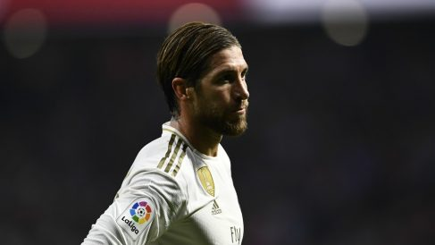 Sergio Ramos, durante el derbi. (AFP)