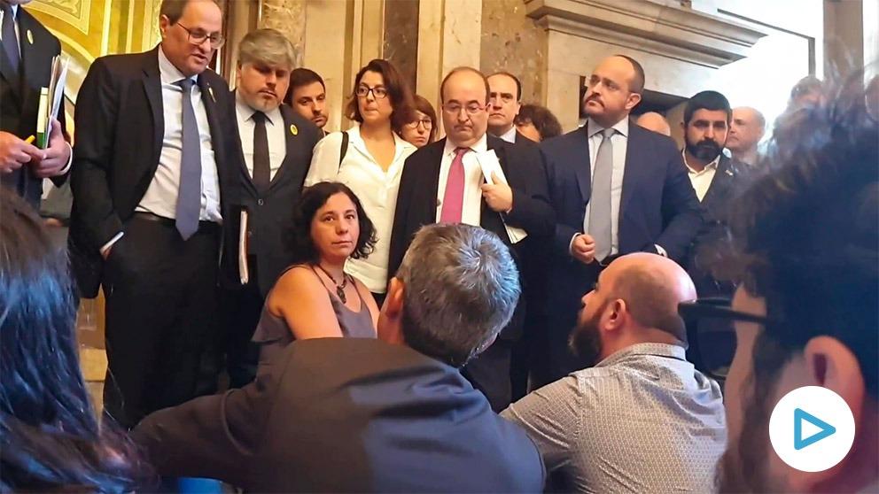 Sentada de periodistas en el Parlament