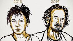 La escritora polaca Olga Tokarczuk y el autor austríaco Peter Handke, galardonados con el Premio Nobel de Literatura 2018 y 2019 respectivamente.