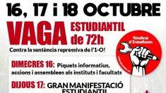 Cartel del Sindicato de Estudiantes convocando a la huelga la próxima semana.