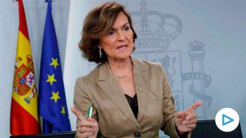 Carmen Calvo, en la rueda de prensa del Consejo de Ministros. (Efe)