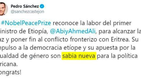 Tuit de Pedro Sánchez con una falta de ortografía