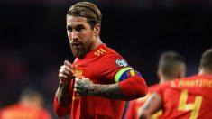 Sergio Ramos celebra un gol en el España-Suecia. (Getty)