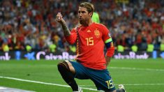 Sergio Ramos celebra un gol con España. (Getty)