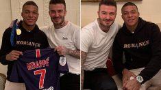 Mbappé y Beckham, en un encuentro tiempo atrás.