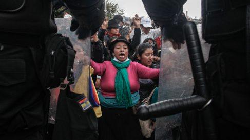 Indígenas se manifiestan por la crisis que vive Ecuador. Foto: EP