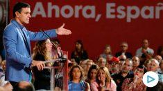 El presidente en funciones Pedro Sánchez, este viernes, en la Cúpula del Milenio de Valladolid (foto: EFE).