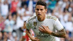James Rodríguez celebra su gol al Granada. (AFP)