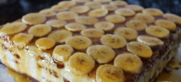 Tarta de plátano y galletas