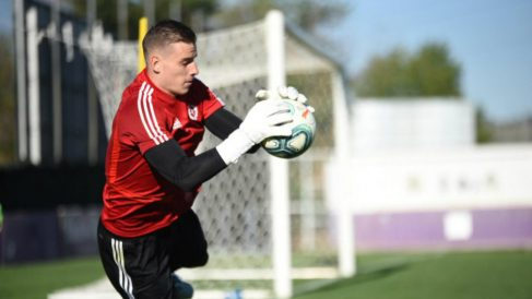 Andriy Lunin en un entrenamiento con el Valladolid (Real Valladolid)
