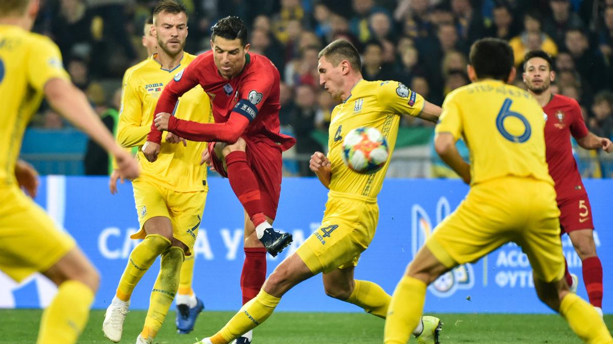 Cristiano Ronaldo, ante Ucrania (AFP).