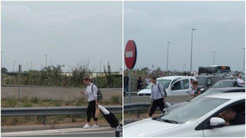Ivan Rakitic, afectado por los cortes en El Prat. (@Prec96)