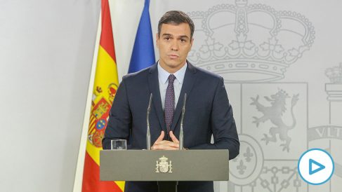 El presidente del Gobierno en funciones, Pedro Sánchez, hace una declaración institucional tras conocerse la sentencia del Tribunal Supremo (Foto: Europa Press).