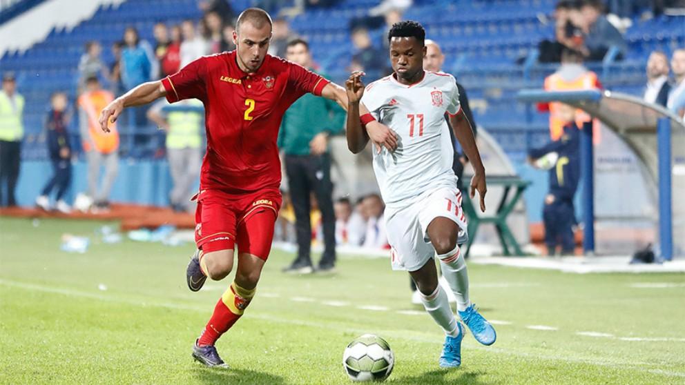 Ansu Fati, en su debut con la Sub-21. (
