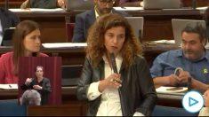 La consejera de Presidencia de Baleares, Pilar Costa, en la sesión de control este martes en el Parlamento autonómico.