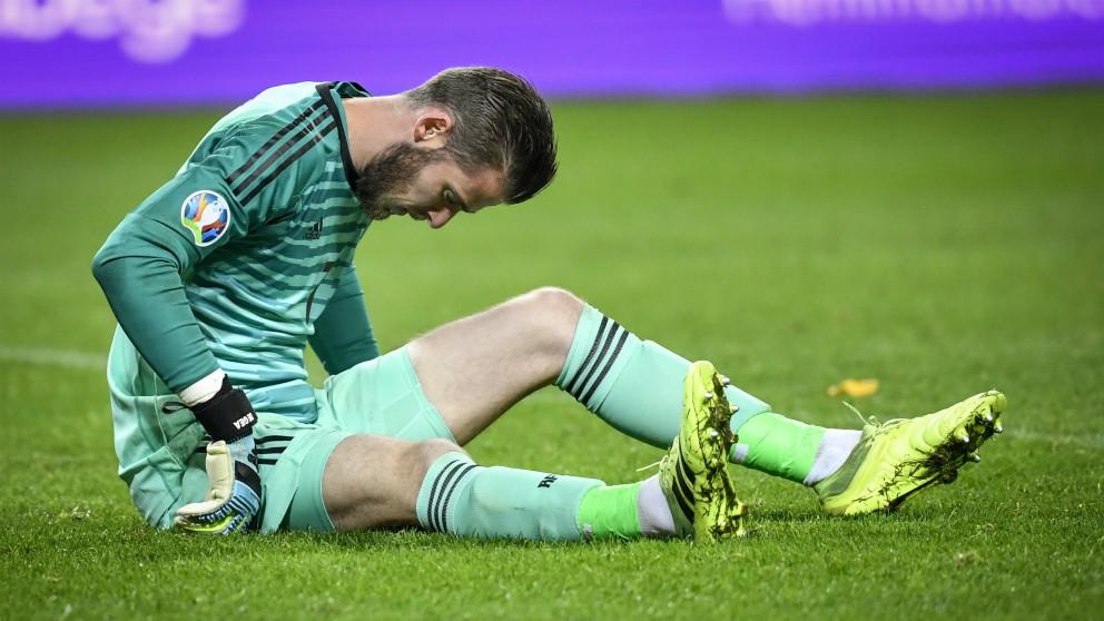 David de Gea, se duele de su lesión en el Suecia – España. (AFP)