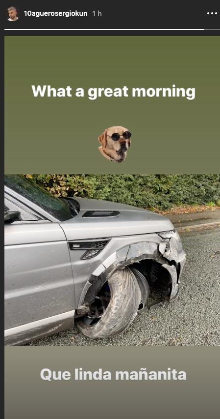 El Kun Agüero sufre un fuerte accidente de tráfico con su coche de 200.000 dólares