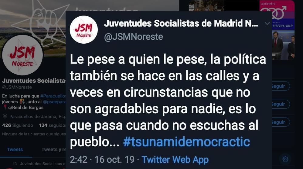 Tuit de Juventudes Socialistas Madrid Noreste.