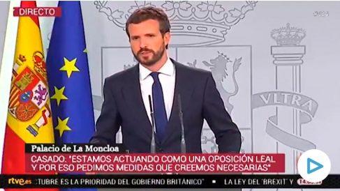 Pablo Casado antes de ser cortado por TVE