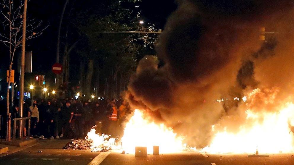 Violencia en las calles de Barcelona.