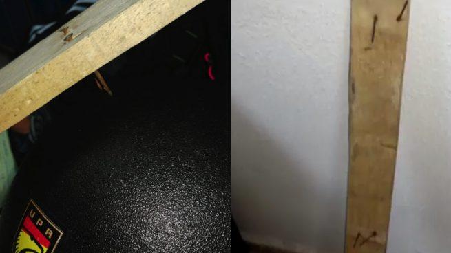 Imágenes de los tablones con clavos con los que la policía fue atacada en Madrid.