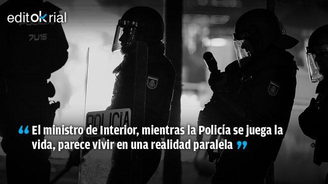 ¿A qué esperáis Sánchez y Marlaska para ir a Barcelona a apoyar a vuestros policías?