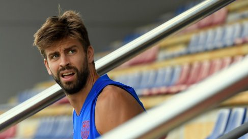 Piqué, en un entrenamiento del Barcelona. (AFP)