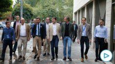 El presidente del PP, Pablo Casado, y otros líderes del PP hoy en Valladolid. (Ep)