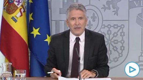 El ministro del Interior, Fernando Grande-Marlaska, este domingo en rueda de prensa en Moncloa.