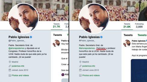 Cambio en la biografia de Twitter de Pablo Iglesias.