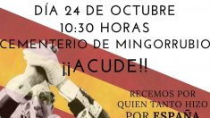 Cartel de la Fundación Franco con la convocatoria para concentrarse en el cementerio de Mingorrubio.