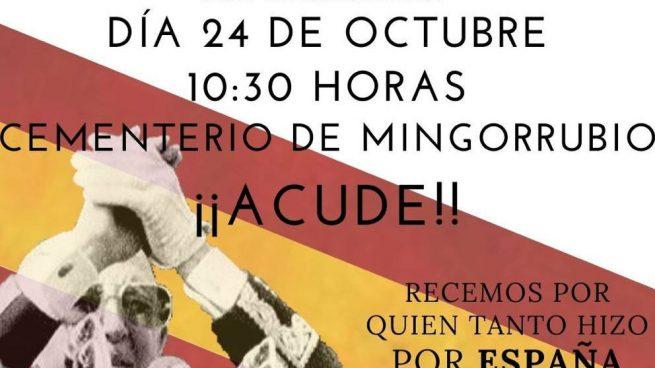 La Fundación Franco convoca una concentración el jueves en el cementerio de Mingorrubio