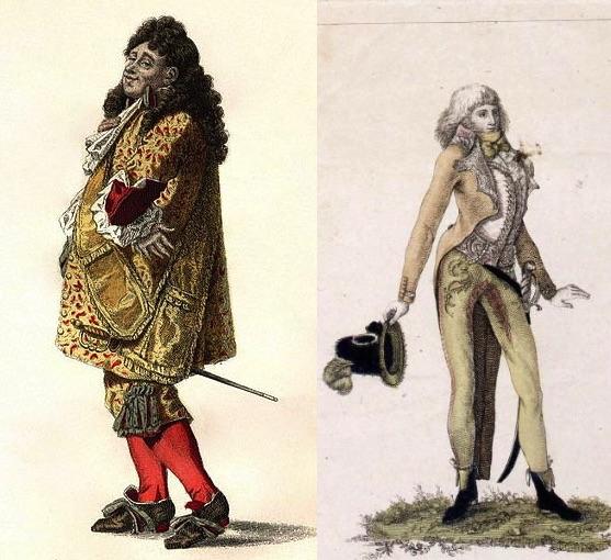 Ejemplos de petimetre en la iconografía francesa.