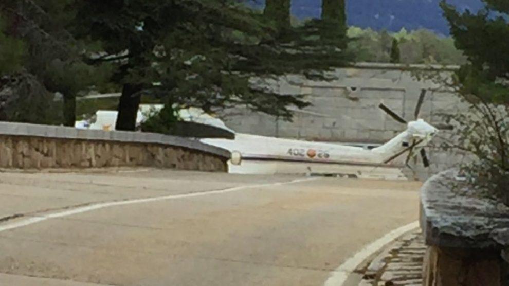 Helicóptero del Ala 48 del Ejército del Aire este lunes en el Valle de los Caídos.