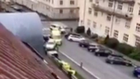 Imagen de la ambulancia robada en Oslo.