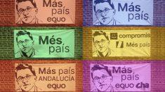 Banderolas de Más País sin el rostro de Manuela Carmena. (Foto. ḾM)